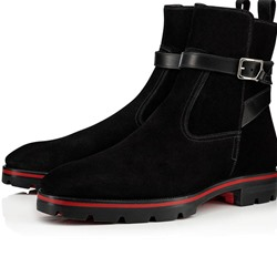 Shoespie Men's Color Block Round Toe Hasp Boots
