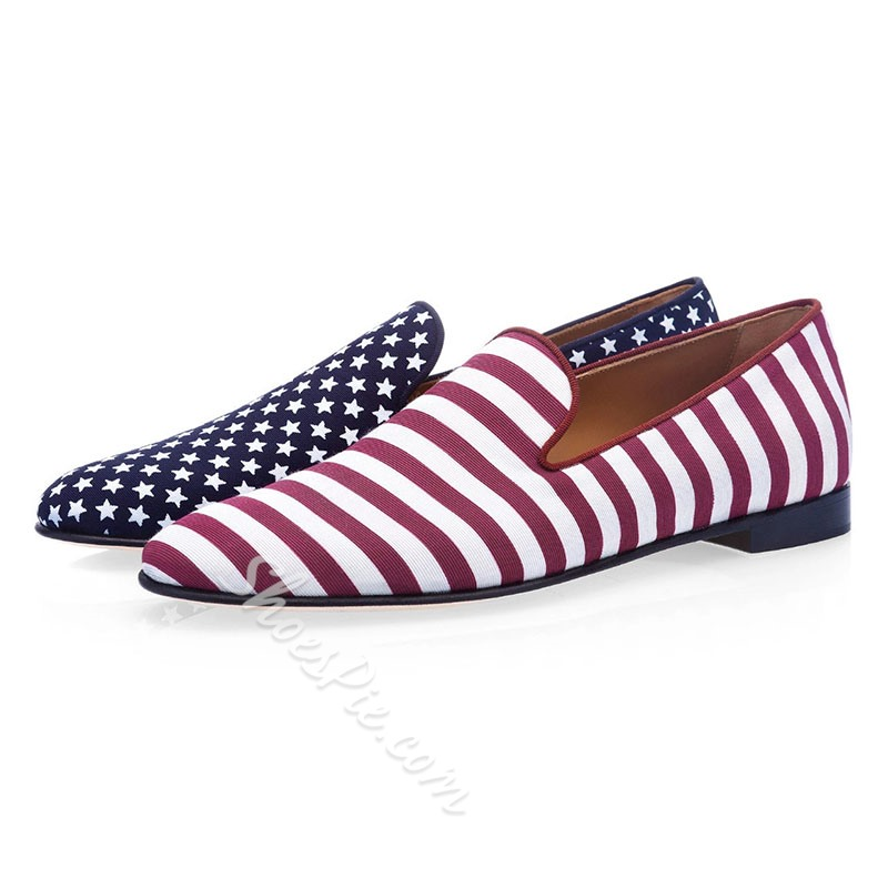 Shoespie Men's Low-Cut Upper Print Color Block Slip-On Round Toe Thin Shoes
