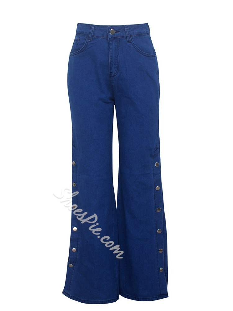 Wide Legs Plain Zipper Loose Women's Jeans