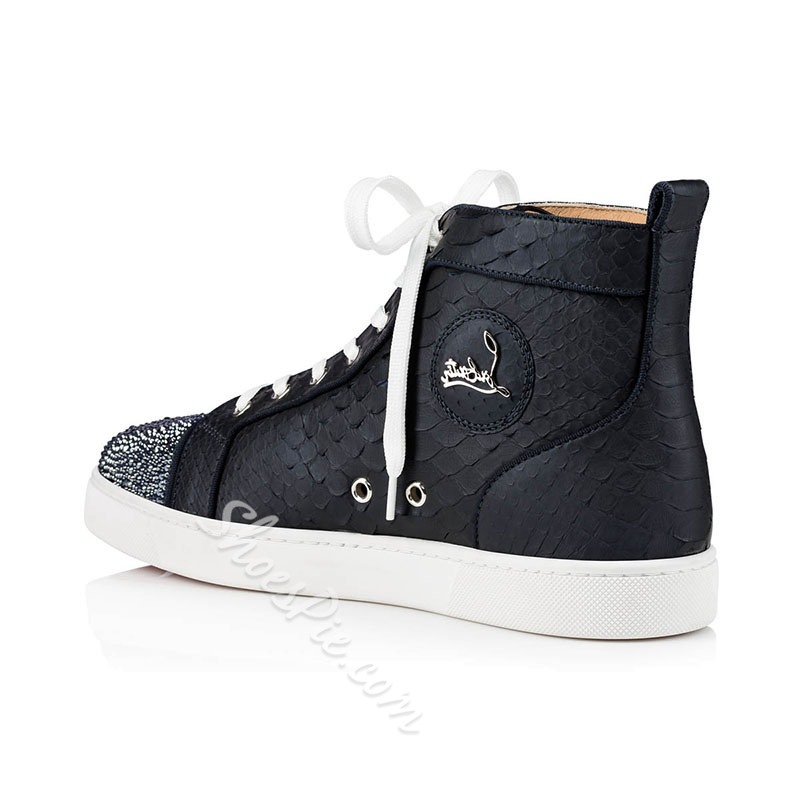 Shoespie Men's High-Cut Upper Lace-Up Round Toe Skate Shoes