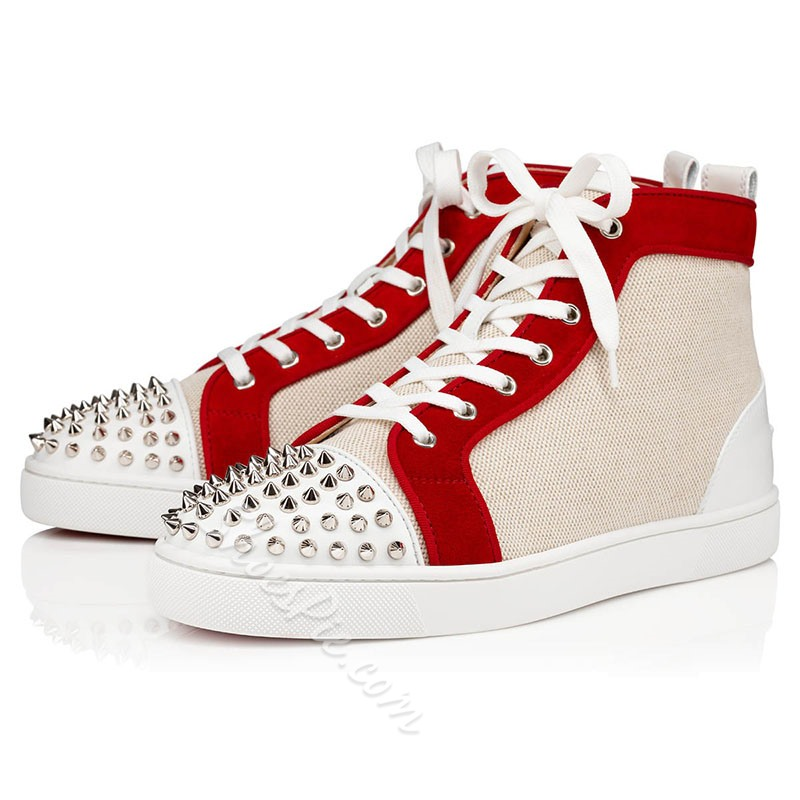 Shoespie Men's Patchwork Lace-Up Round Toe Skate Shoes