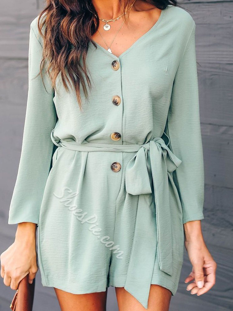 Shorts Casual Lace-Up Loose Women's Jumpsuit