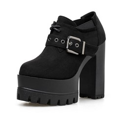 Shoespie Trendy Chunky Heel Black Round Toe Slip-On Ankle Boots