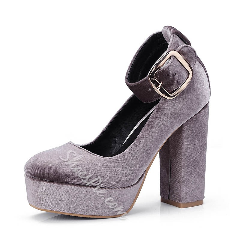Shoespie Trendy Line-Style Buckle Chunky Heel Round Toe 11.5cm Thin Shoes