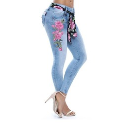 Floral Pencil Pants Embroidery Button Women's Jeans