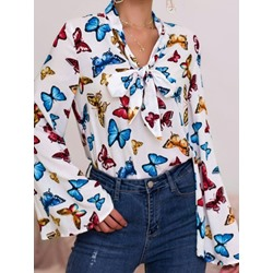 Bowknot Floral Flare Sleeve Short Sleeve Women's Blouse