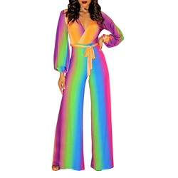 Full Length Color Block Western Wide Legs Women's Jumpsuit