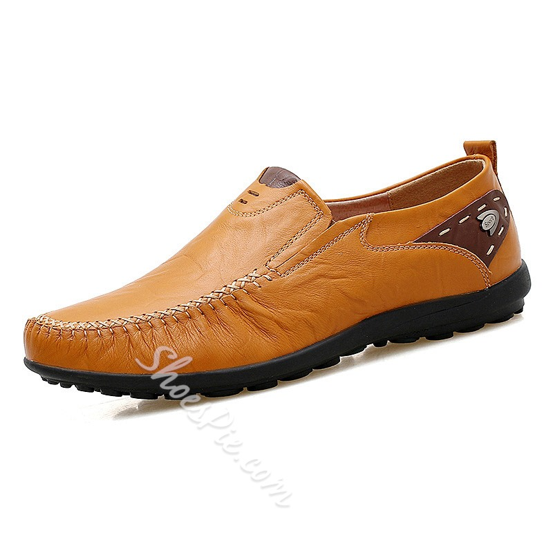 Shoespie Men's Plain Low-Cut Upper Leather Leather Shoes