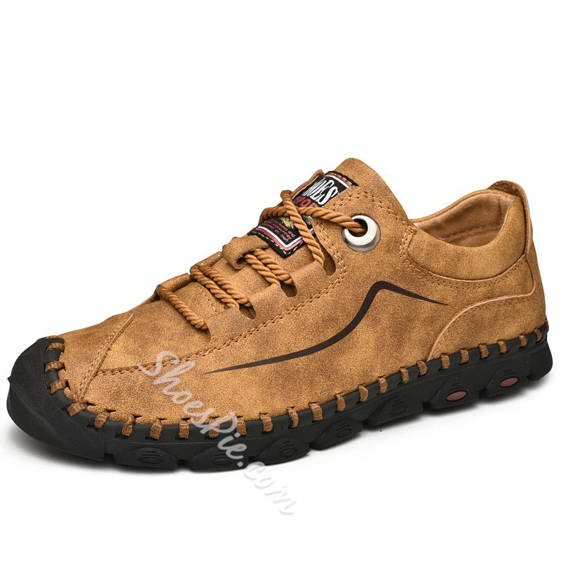Shoespie Men's Low-Cut Upper Flat With Round Toe Leather Casuals Shoes