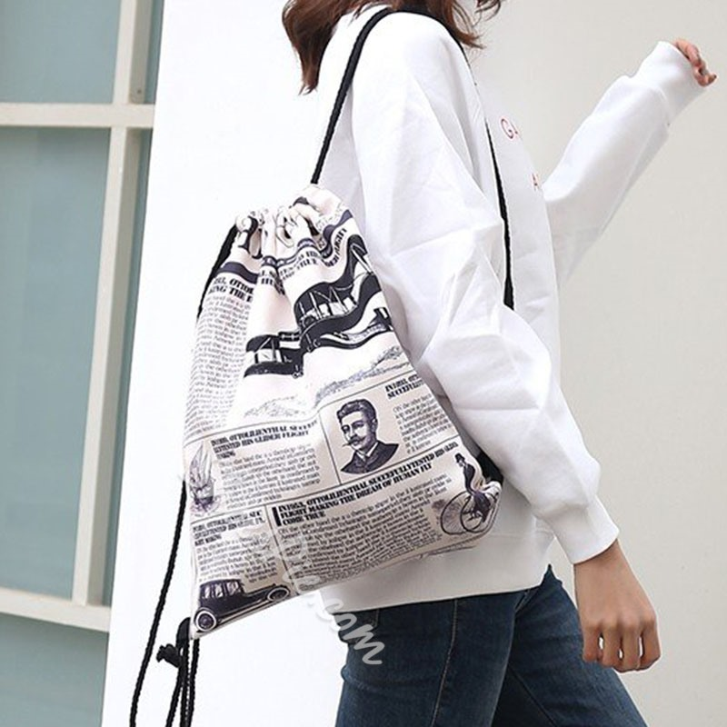 Shoespie Oxford Print Letter Backpacks