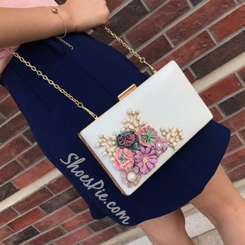 Shoespie PU Chain Floral Rectangle Crossbody Bags