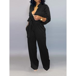 Full Length Lace-Up Plain Straight Women's Jumpsuit