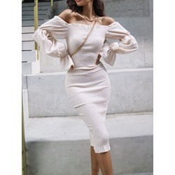 Off Shoulder Mid-Calf Long Sleeve Women's Dress