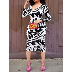 Mid-Calf V-Neck Print Bodycon Women's Dress