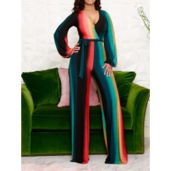 Color Block Lace-Up Full Length Loose Women's Jumpsuit