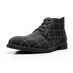 Shoespie Men's Pointed Toe Plaid Lace-Up Front Canvas Boots