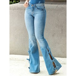 Pocket Bellbottoms Zipper Women's Jeans