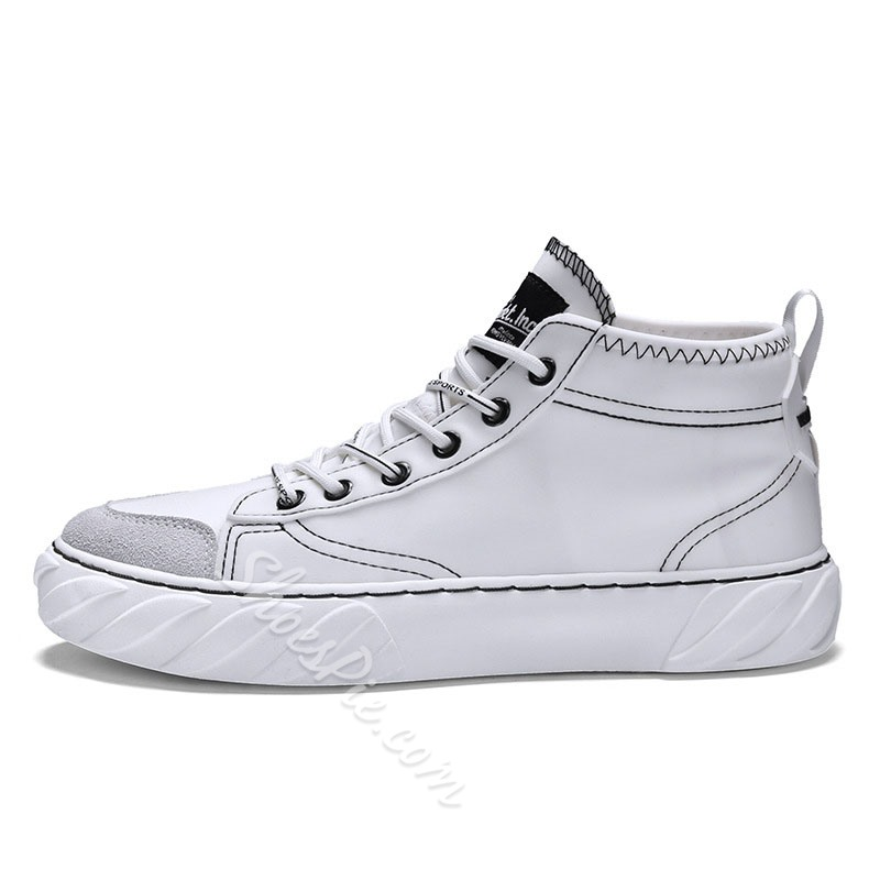 Shoespie Men's Lace-Up Mid-Cut Upper Round Toe Skate Shoes