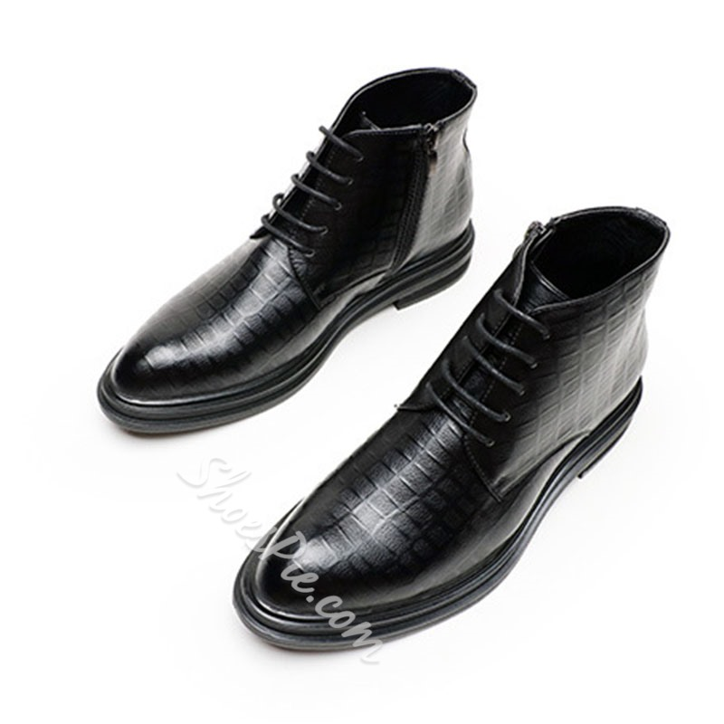 Shoespie Men's Pointed Toe Lace-Up Front PU Boots