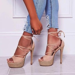Shoespie Trendy Heel Covering Peep Toe Lace-Up Western Sandals