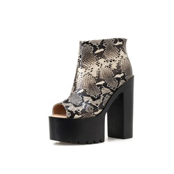 Shoespie Stylish Chunky Heel Back Zip Peep Toe PU Boots