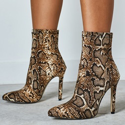 Shoespie Sexy Slip-On Stiletto Heel Pointed Toe Serpentine Boots
