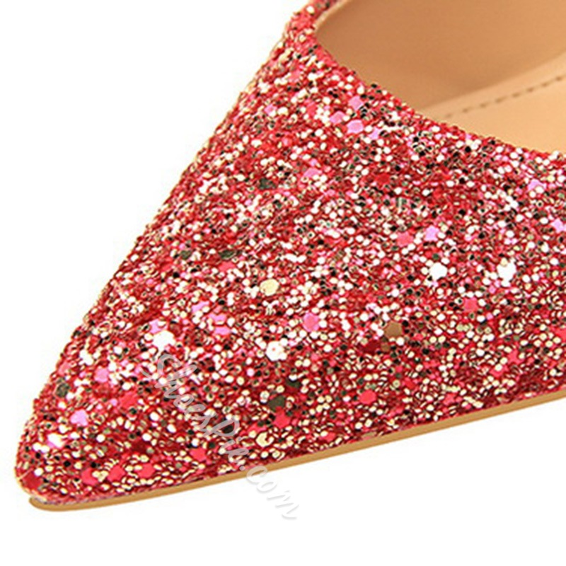 Shoespie Sexy Pointed Toe Sequin Slip-On Ultra-High Heel Thin Shoes