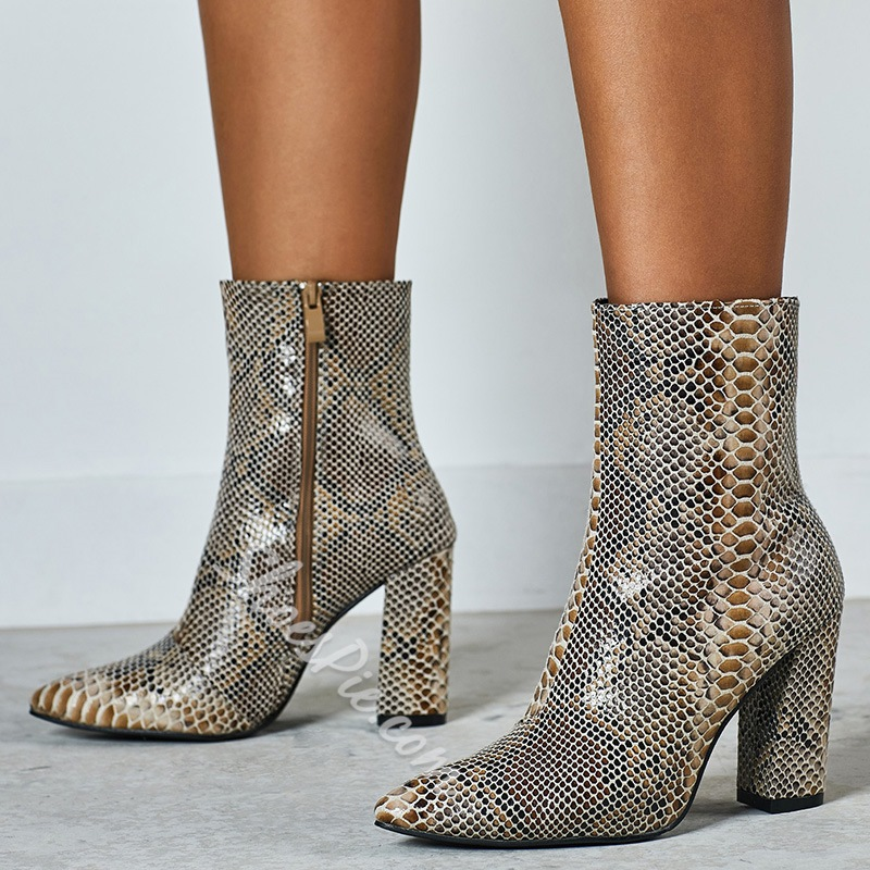 Shoespie Sexy Side Zipper Chunky Heel Pointed Toe Serpentine Boots
