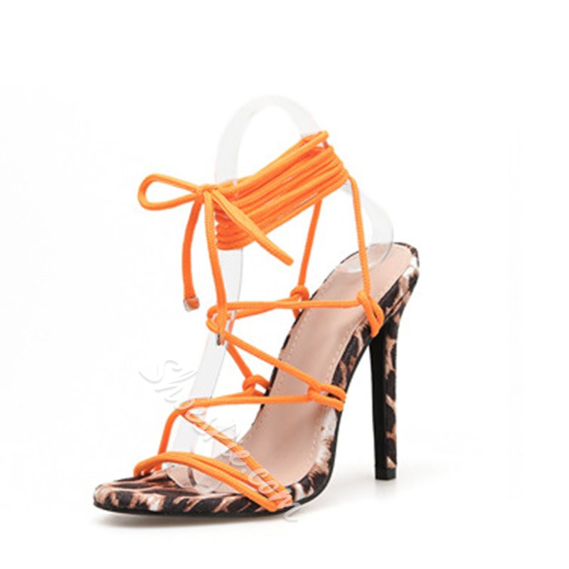 Shoespie Stylish Stiletto Heel Lace-Up Strappy Low-Cut Upper Sandals
