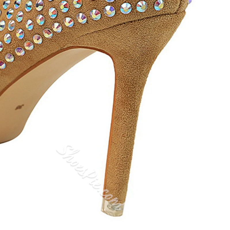 Shoespie Sexy Stiletto Heel Pointed Toe Rhinestone Low-Cut Upper Thin Shoes