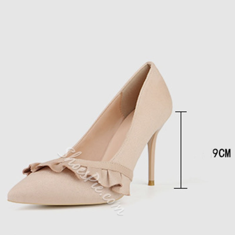 Shoespie Sexy Slip-On Pointed Toe Ruffles Ultra-High Heel Thin Shoes