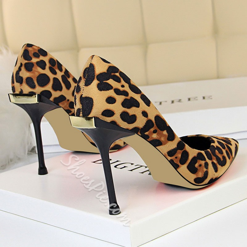 Shoespie Sexy Leopard Stiletto Heel Slip-On Pointed Toe Banquet Thin Shoes