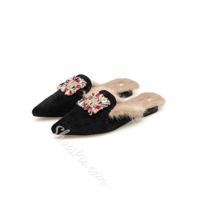 Shoespie Trendy Closed Toe Flat With Rhinestone Casual Slippers