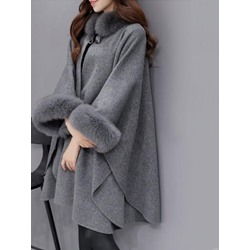 Plain Wool Blends Fall Women's Cape