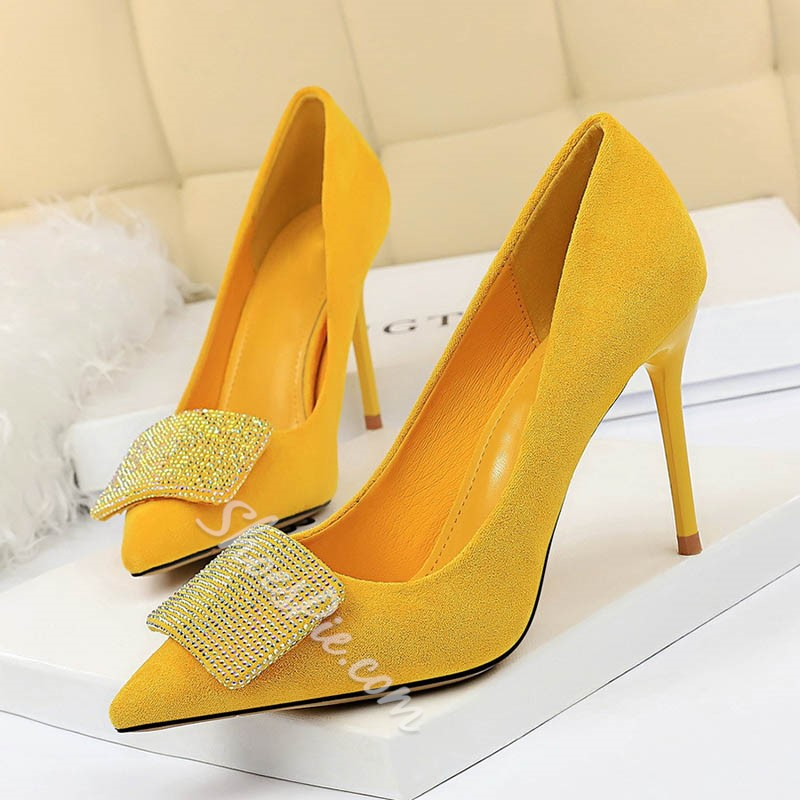 Shoespie Trendy Pointed Toe Stiletto Heel Slip-On Low-Cut Upper Thin Shoes