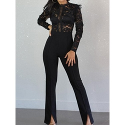 Plain Lace Western Slim Women's Jumpsuit