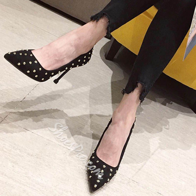 Shoespie Sexy Stiletto Heel Rivet Slip-On Thread Western Thin Shoes