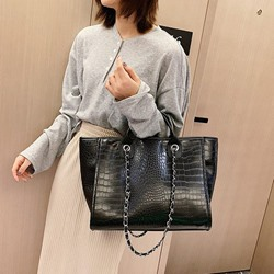Shoespie PU Embossing Alligator Rectangle Shoulder Bags