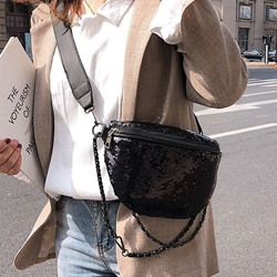 Shoespie Plain Sequins PU Saddle Crossbody Bags