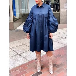 Lapel Long Sleeve Pleated Women's Dress
