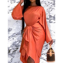 Mid-Calf Lace-Up Round Neck Women's Dress