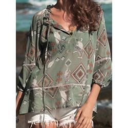 Geometric Tassel Three-Quarter Sleeve Women's Blouse