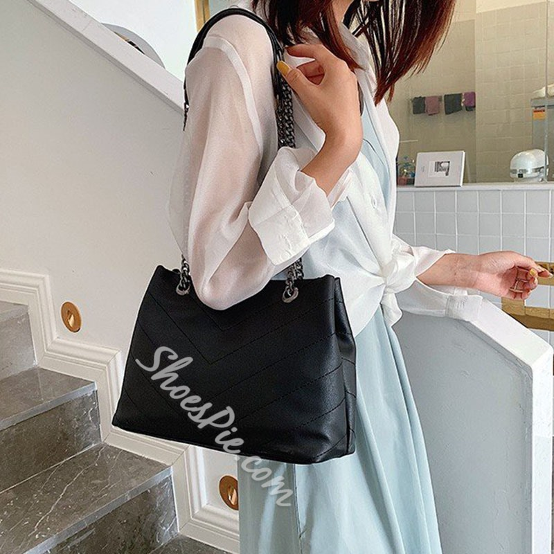 Shoespie Thread PU Rectangle Tote Bags