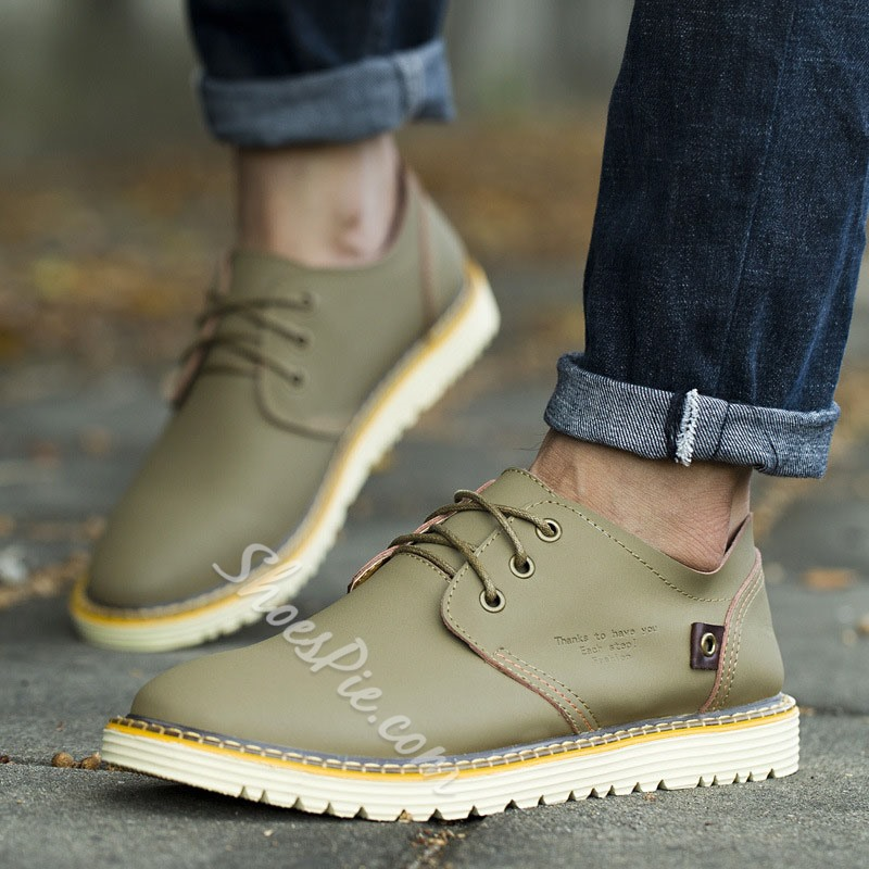 Shoespie Men's Simple Low-Cut Upper Lace-Up Round Toe Sneakers