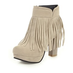 Shoespie Stylish Round Toe Plain Chunky Heel Casual Boots