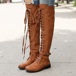 Shoespie Trendy Side Zipper Plain Round Toe Thread Boots