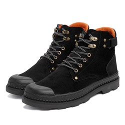 Shoespie Men's Round Toe Lace-Up Front Color Block PU Boots