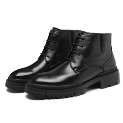 Shoespie Men's Plain Lace-Up Front Round Toe PU Boots