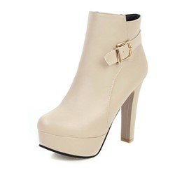 Shoespie Trendy Side Zipper Round Toe Plain Zipper Boots