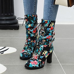 Shoespie Sexy Round Toe Color Block Side Zipper Casual Boots